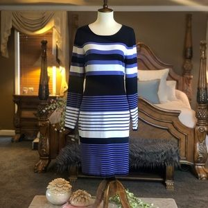 Antonio Melani Long Sleeve Striped Dress Sz Large